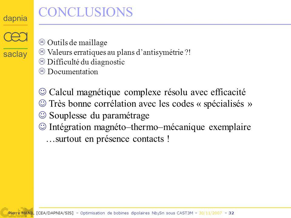 Pierre MANIL [CEA/DAPNIA/SIS] – Optimisation de bobines dipolaires Nb 3 Sn sous CAST3M – 30/11/2007 – 32 CONCLUSIONS Outils de maillage Valeurs erratiques au plans dantisymétrie .