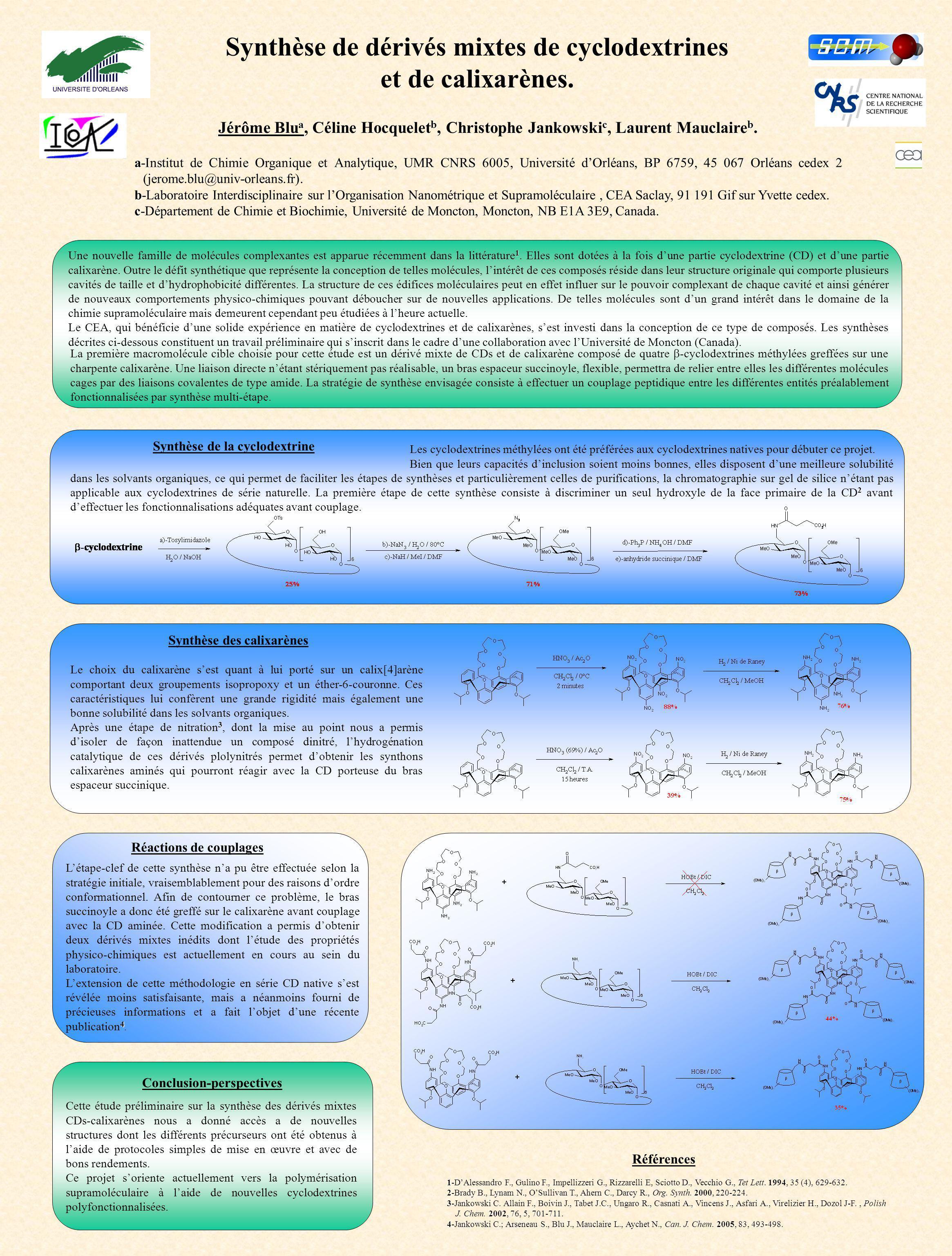 Synthèse de dérivés mixtes de cyclodextrines et de calixarènes.