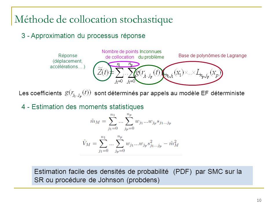 10 3 - Approximation du processus réponse 4 - Estimation des moments statistiques Estimation facile des densités de probabilité (PDF) par SMC sur la SR ou procédure de Johnson (probdens) Les coefficients sont déterminés par appels au modèle EF déterministe Nombre de points de collocation Méthode de collocation stochastique Inconnues du problème Base de polynômes de LagrangeRéponse (déplacement, accélérations….)