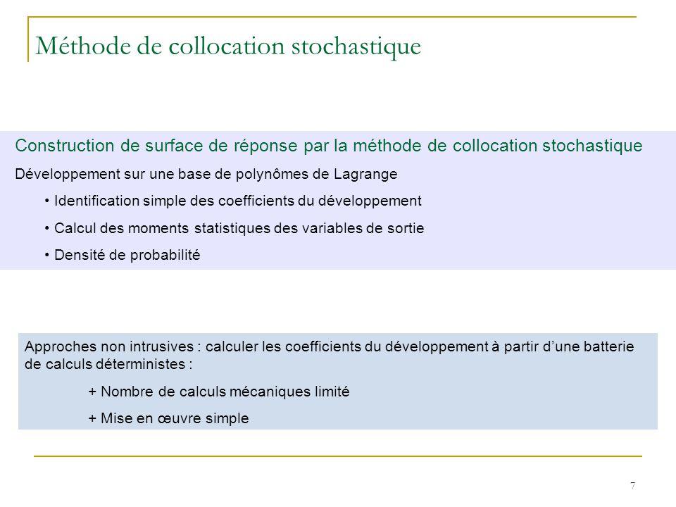 7 Construction de surface de réponse par la méthode de collocation stochastique Développement sur une base de polynômes de Lagrange Identification sim