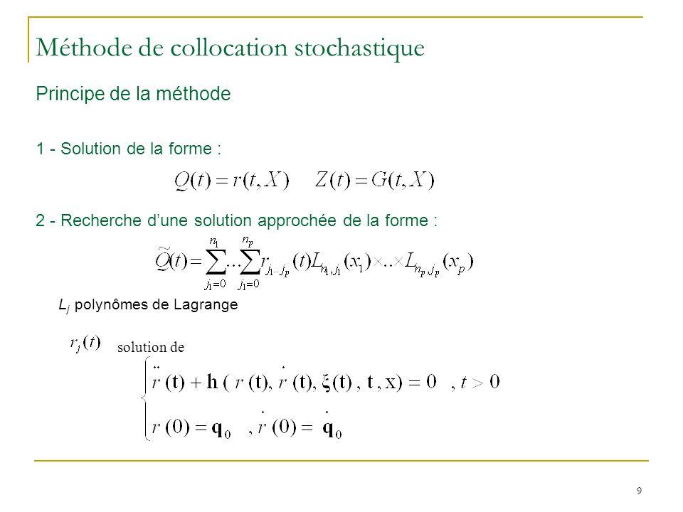 9 Principe de la méthode 1 - Solution de la forme : 2 - Recherche dune solution approchée de la forme : L j polynômes de Lagrange Méthode de collocation stochastique solution de