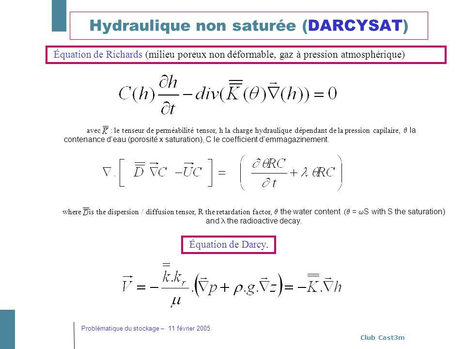 Club Cast3m Problématique du stockage – 11 février 2005 Hydraulique non saturée (DARCYSAT) avec: le tenseur de perméabilité tensor, h la charge hydrau