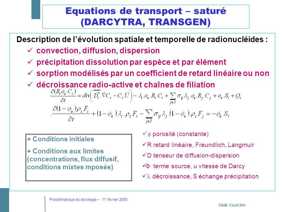 Club Cast3m Problématique du stockage – 11 février 2005 Equations de transport – saturé (DARCYTRA, TRANSGEN) Description de lévolution spatiale et tem