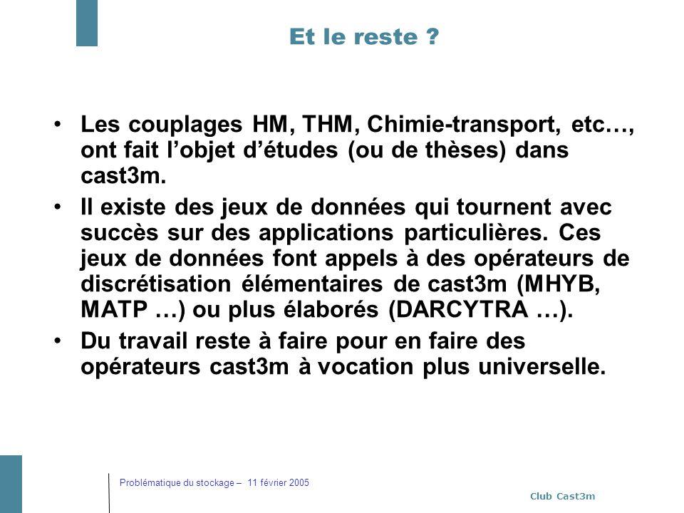 Club Cast3m Problématique du stockage – 11 février 2005 Et le reste ? Les couplages HM, THM, Chimie-transport, etc…, ont fait lobjet détudes (ou de th