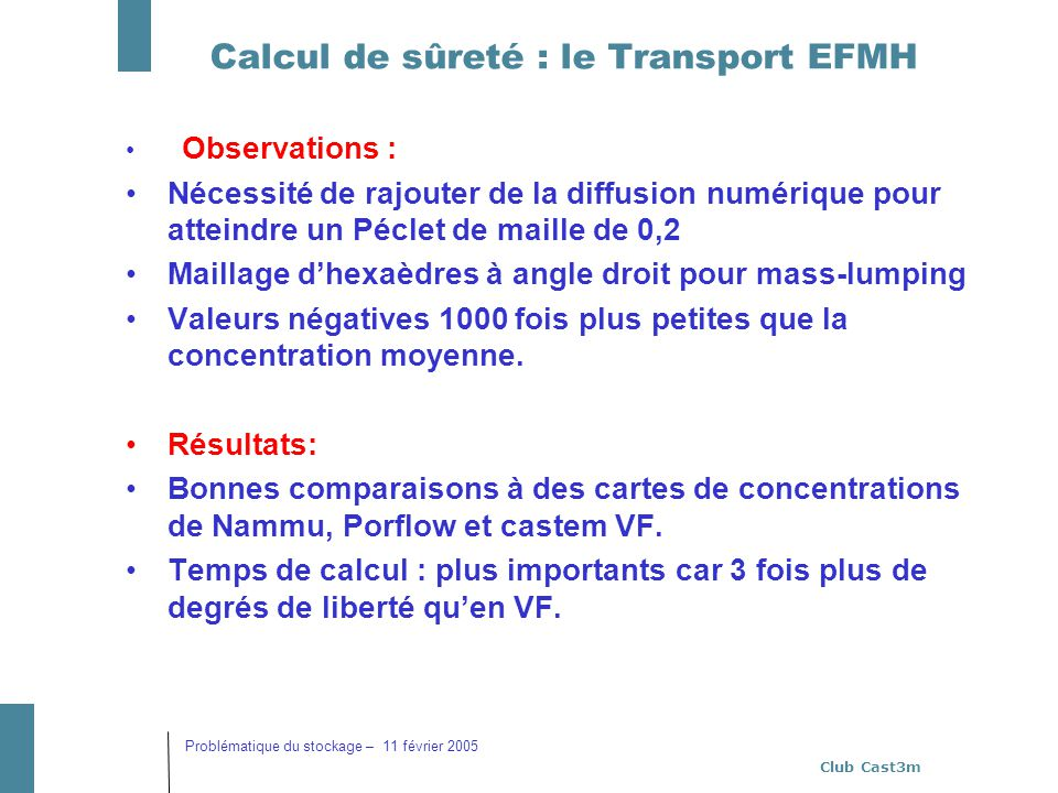 Club Cast3m Problématique du stockage – 11 février 2005 Calcul de sûreté : le Transport EFMH Observations : Nécessité de rajouter de la diffusion numé