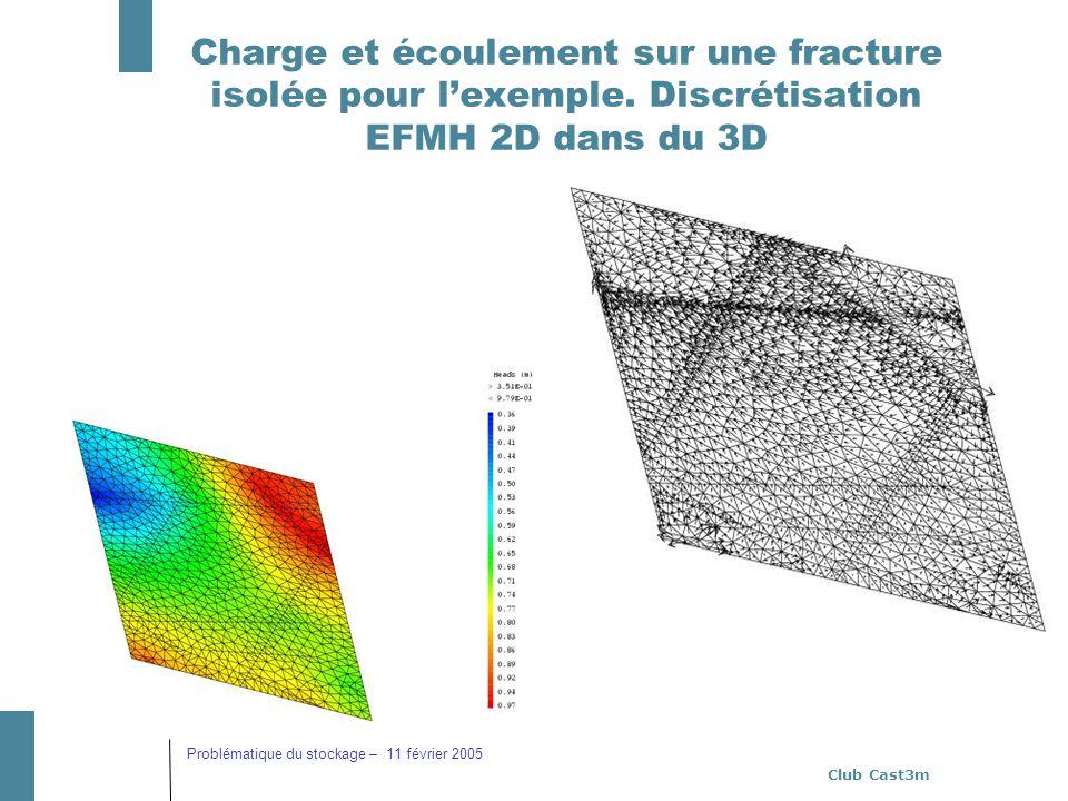 Club Cast3m Problématique du stockage – 11 février 2005 Charge et écoulement sur une fracture isolée pour lexemple. Discrétisation EFMH 2D dans du 3D