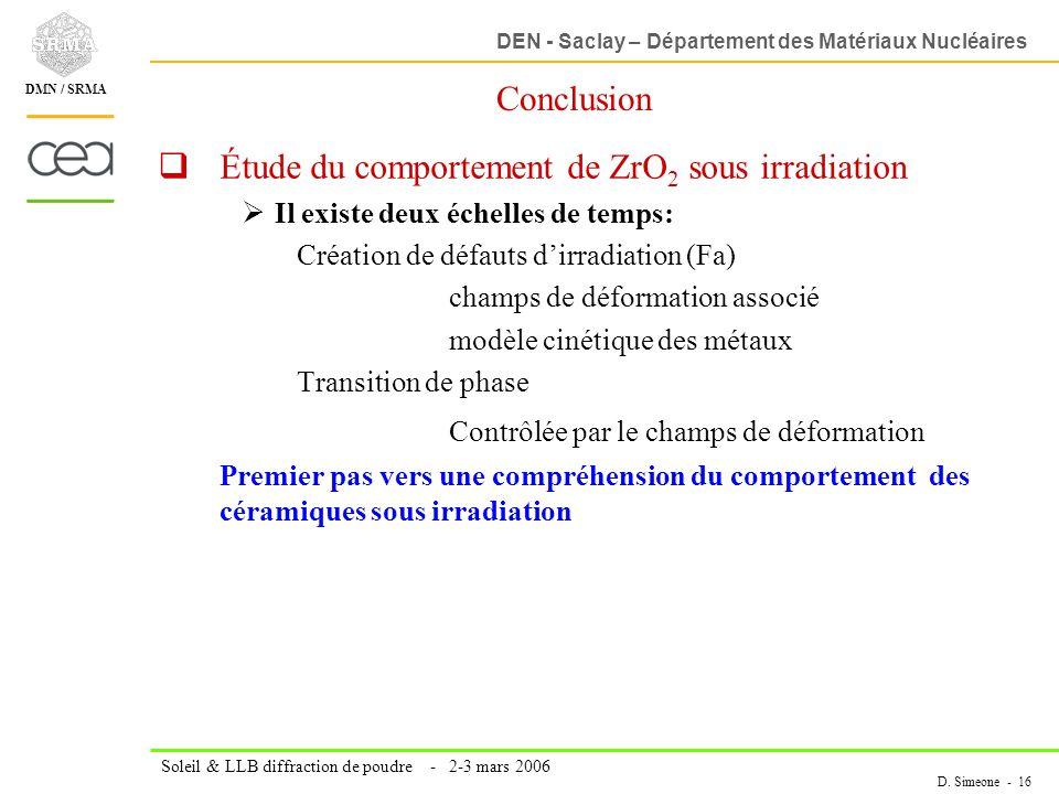 DEN - Saclay – Département des Matériaux Nucléaires Soleil & LLB diffraction de poudre - 2-3 mars 2006 D. Simeone - 16 DMN / SRMA Conclusion Étude du