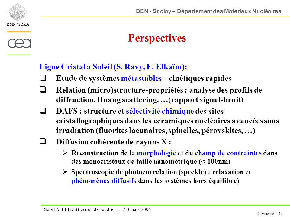 DEN - Saclay – Département des Matériaux Nucléaires Soleil & LLB diffraction de poudre - 2-3 mars 2006 D. Simeone - 17 DMN / SRMA Perspectives Ligne C