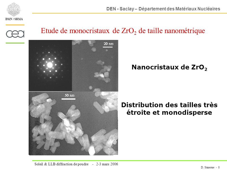 DEN - Saclay – Département des Matériaux Nucléaires Soleil & LLB diffraction de poudre - 2-3 mars 2006 D. Simeone - 8 DMN / SRMA Etude de monocristaux