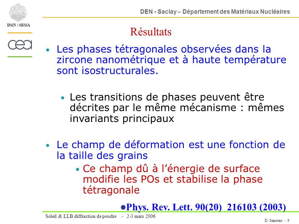 DEN - Saclay – Département des Matériaux Nucléaires Soleil & LLB diffraction de poudre - 2-3 mars 2006 D. Simeone - 9 DMN / SRMA Résultats Les phases