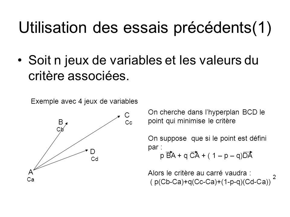 Utilisation des essais précédents(1) Soit n jeux de variables et les valeurs du critère associées. A B C D Exemple avec 4 jeux de variables Ca Cb Cc C
