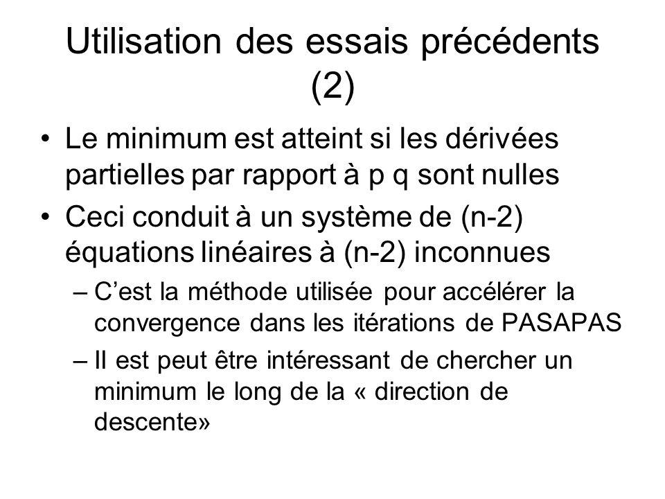 Utilisation des essais précédents (2) Le minimum est atteint si les dérivées partielles par rapport à p q sont nulles Ceci conduit à un système de (n-