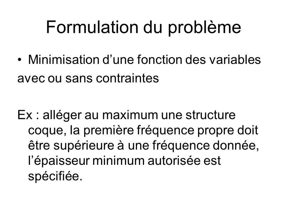 Formulation du problème Minimisation dune fonction des variables avec ou sans contraintes Ex : alléger au maximum une structure coque, la première fré