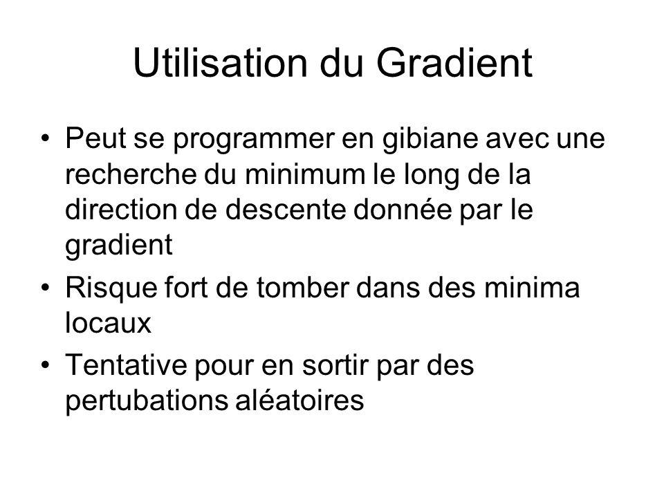 Utilisation du Gradient Peut se programmer en gibiane avec une recherche du minimum le long de la direction de descente donnée par le gradient Risque