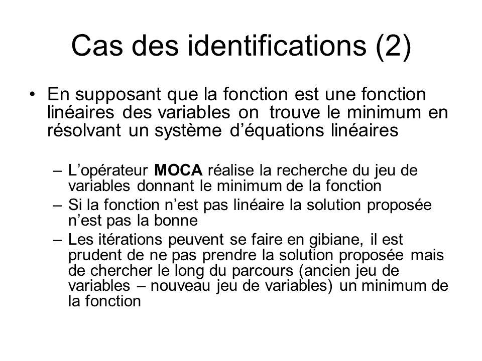 Cas des identifications (2) En supposant que la fonction est une fonction linéaires des variables on trouve le minimum en résolvant un système déquati