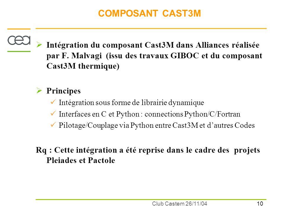 10 Club Castem 26/11/04 COMPOSANT CAST3M Intégration du composant Cast3M dans Alliances réalisée par F. Malvagi (issu des travaux GIBOC et du composan