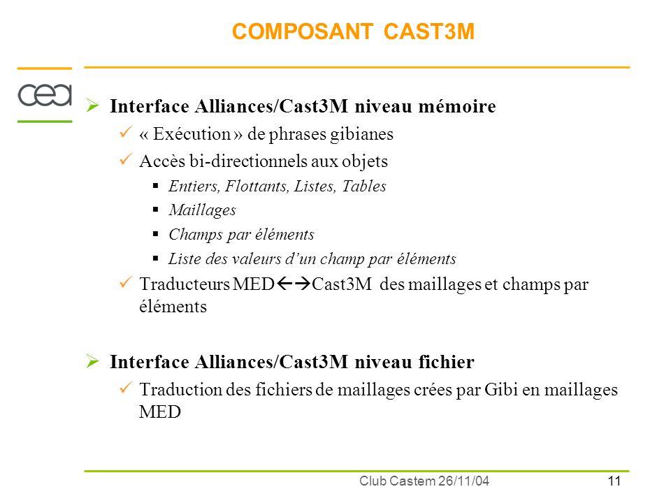 11 Club Castem 26/11/04 COMPOSANT CAST3M Interface Alliances/Cast3M niveau mémoire « Exécution » de phrases gibianes Accès bi-directionnels aux objets