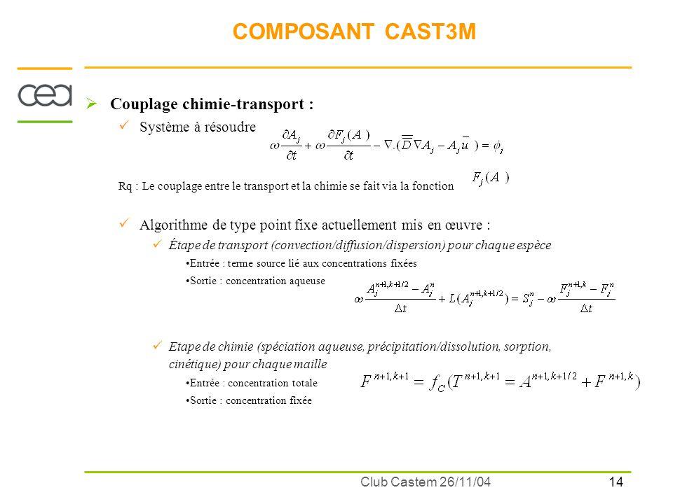 14 Club Castem 26/11/04 COMPOSANT CAST3M Couplage chimie-transport : Système à résoudre Rq : Le couplage entre le transport et la chimie se fait via l