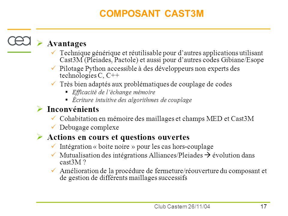 17 Club Castem 26/11/04 COMPOSANT CAST3M Avantages Technique générique et réutilisable pour dautres applications utilisant Cast3M (Pleiades, Pactole)