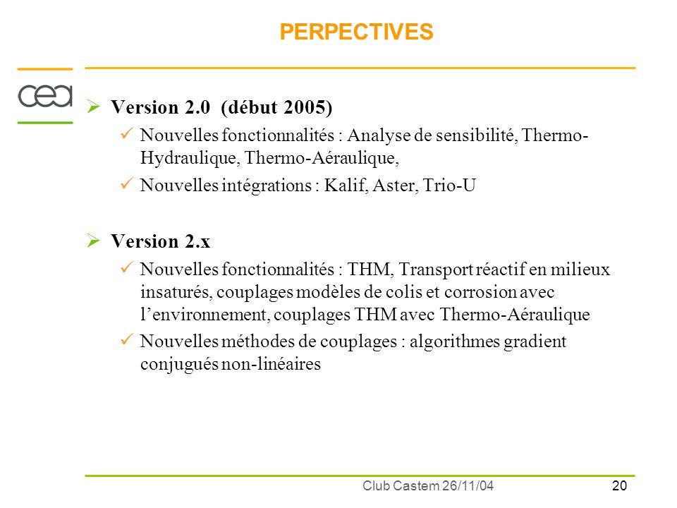 20 Club Castem 26/11/04 PERPECTIVES Version 2.0 (début 2005) Nouvelles fonctionnalités : Analyse de sensibilité, Thermo- Hydraulique, Thermo-Aérauliqu