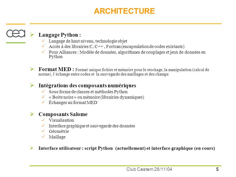 5 Club Castem 26/11/04 ARCHITECTURE Langage Python : Langage de haut niveau, technologie objet Accès à des librairies C, C++, Fortran (encapsulation d