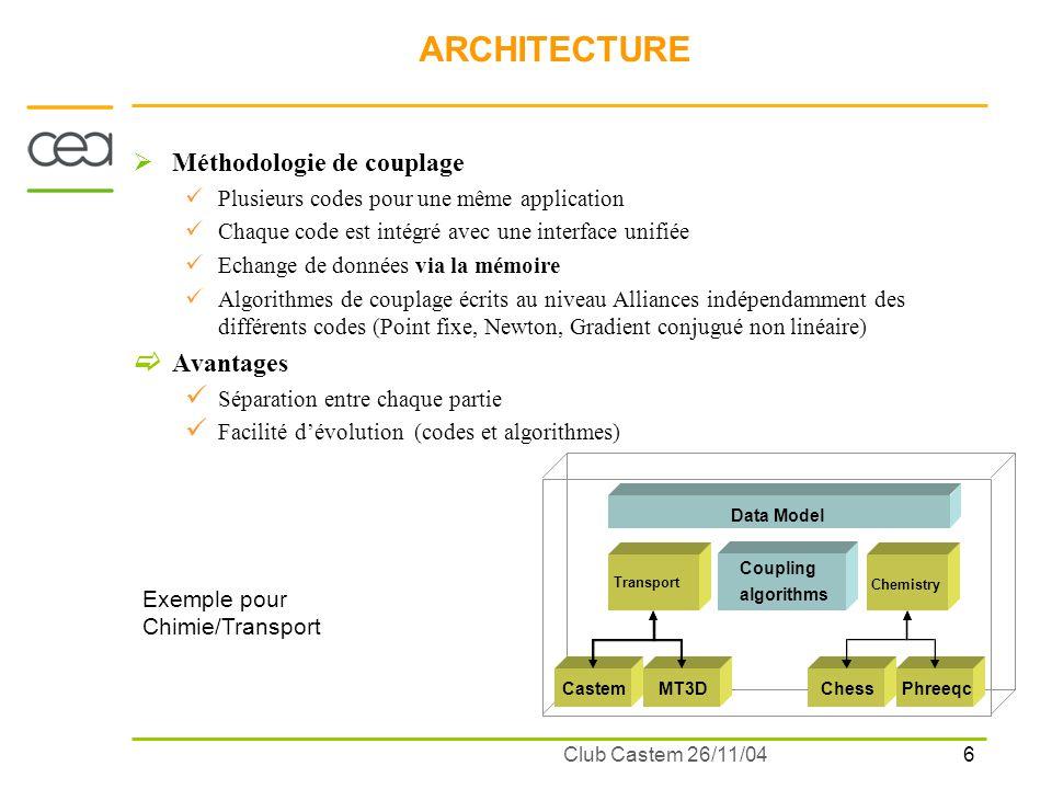 6 Club Castem 26/11/04 ARCHITECTURE Méthodologie de couplage Plusieurs codes pour une même application Chaque code est intégré avec une interface unif