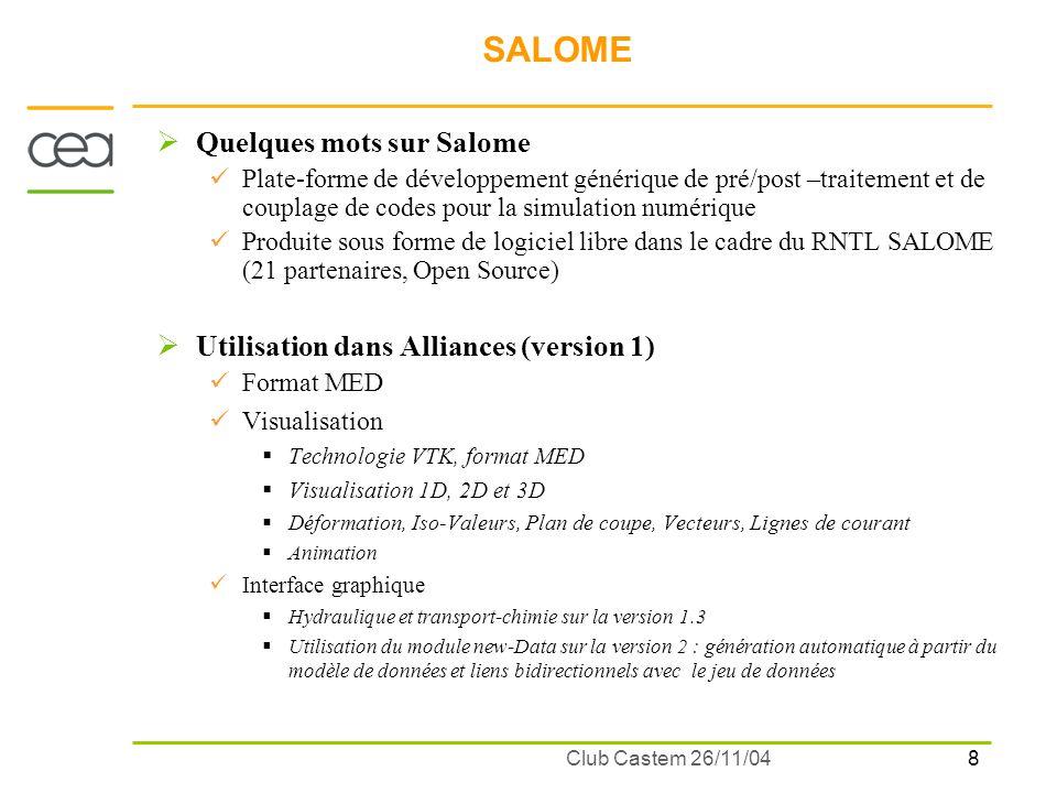 8 Club Castem 26/11/04 SALOME Quelques mots sur Salome Plate-forme de développement générique de pré/post –traitement et de couplage de codes pour la