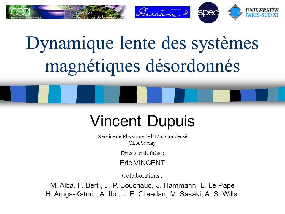 Dynamique lente des systèmes magnétiques désordonnés Vincent Dupuis Collaborations : M. Alba, F. Bert, J.-P. Bouchaud, J. Hammann, L. Le Pape H. Aruga