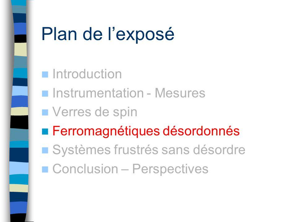 Plan de lexposé Introduction Instrumentation - Mesures Verres de spin Ferromagnétiques désordonnés Systèmes frustrés sans désordre Conclusion – Perspe