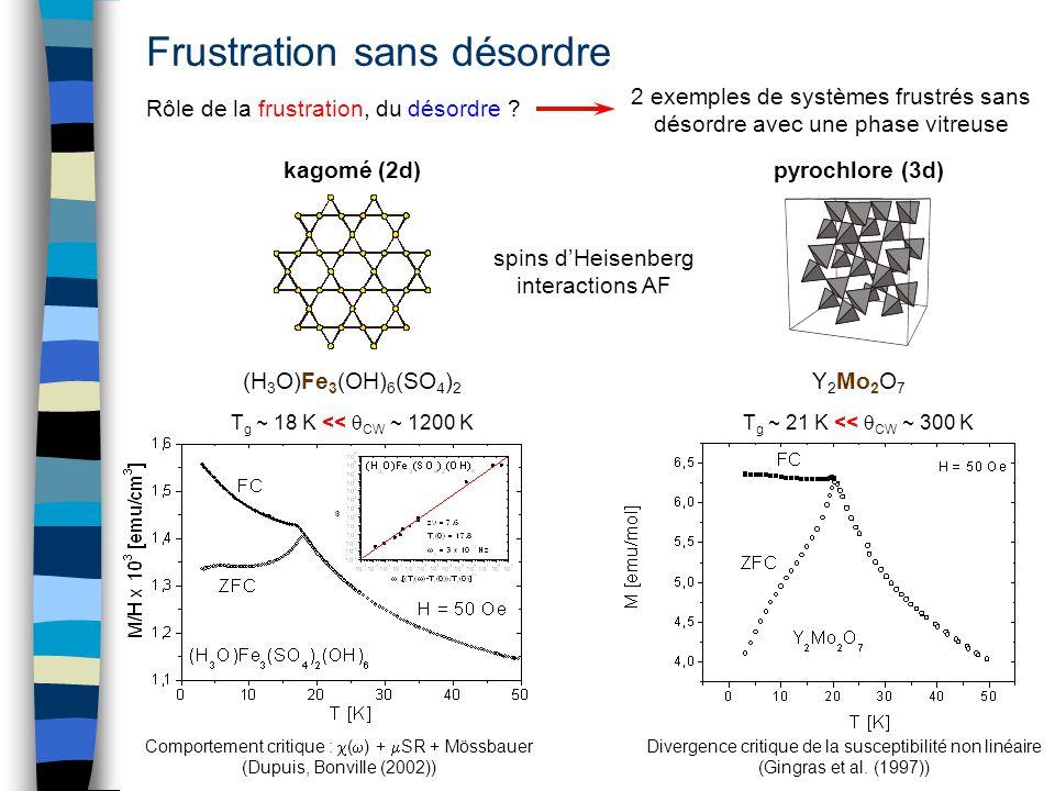 Frustration sans désordre kagomé (2d)pyrochlore (3d) Rôle de la frustration, du désordre ? (H 3 O)Fe 3 (OH) 6 (SO 4 ) 2 Y 2 Mo 2 O 7 Divergence critiq