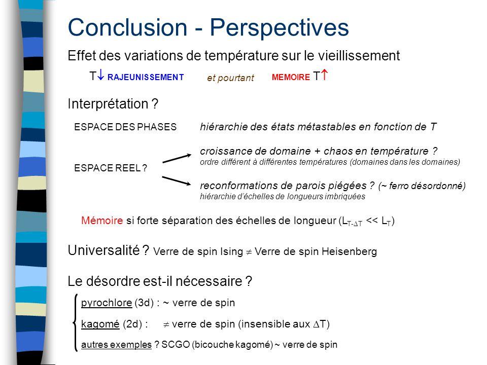 Conclusion - Perspectives Effet des variations de température sur le vieillissement croissance de domaine + chaos en température ? ordre différent à d