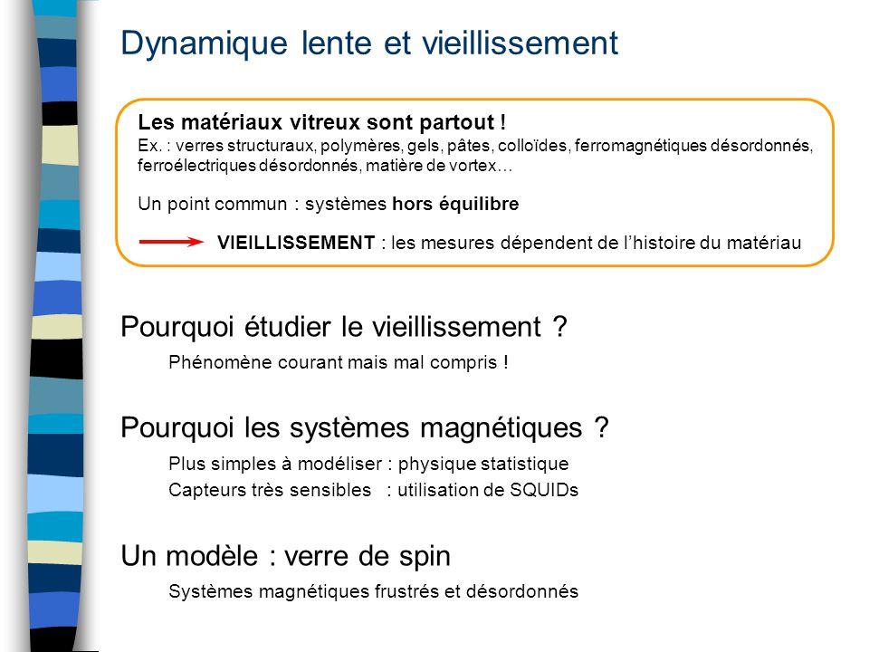 Dynamique lente et vieillissement Plus simples à modéliser : physique statistique Capteurs très sensibles : utilisation de SQUIDs Pourquoi les système