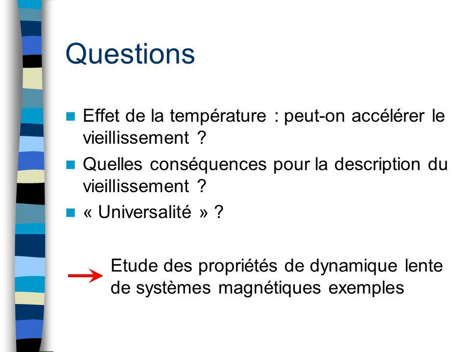 Questions Effet de la température : peut-on accélérer le vieillissement ? Quelles conséquences pour la description du vieillissement ? « Universalité