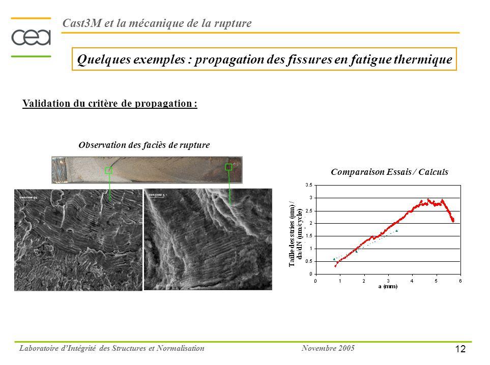 12 Novembre 2005Laboratoire dIntégrité des Structures et Normalisation Quelques exemples : propagation des fissures en fatigue thermique Validation du