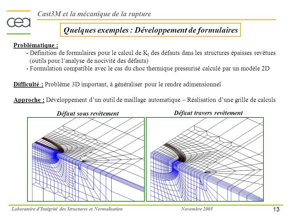 13 Novembre 2005Laboratoire dIntégrité des Structures et Normalisation Quelques exemples : Développement de formulaires Problématique : - Définition d