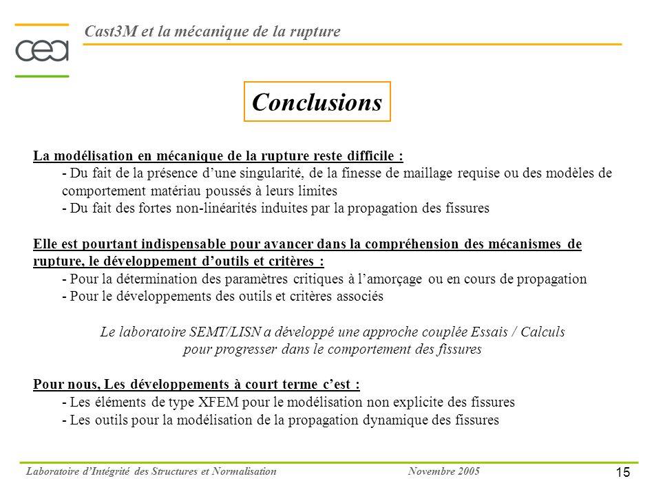 15 Novembre 2005Laboratoire dIntégrité des Structures et Normalisation La modélisation en mécanique de la rupture reste difficile : - Du fait de la pr