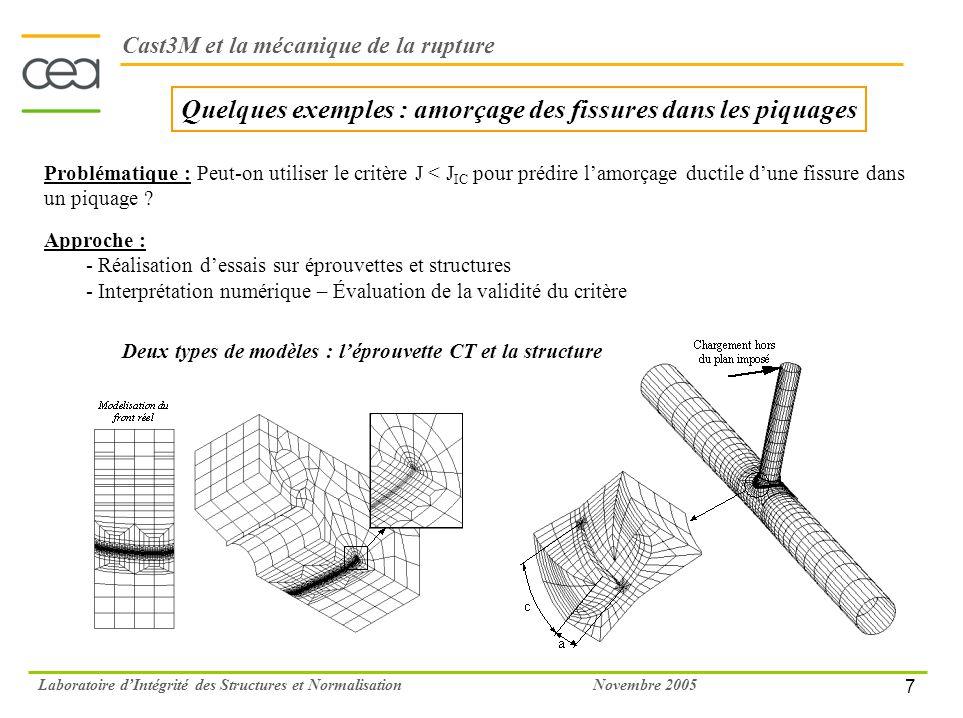 7 Novembre 2005Laboratoire dIntégrité des Structures et Normalisation Quelques exemples : amorçage des fissures dans les piquages Cast3M et la mécaniq