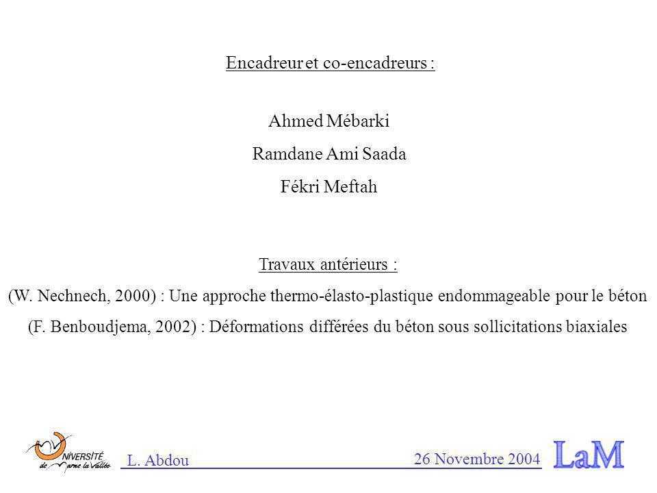 L. Abdou 26 Novembre 2004 Modélisation du comportement mécanique de la maçonnerie Université de Marne-la-Vallée Laboratoire de Mécanique (LaM) Leïla A