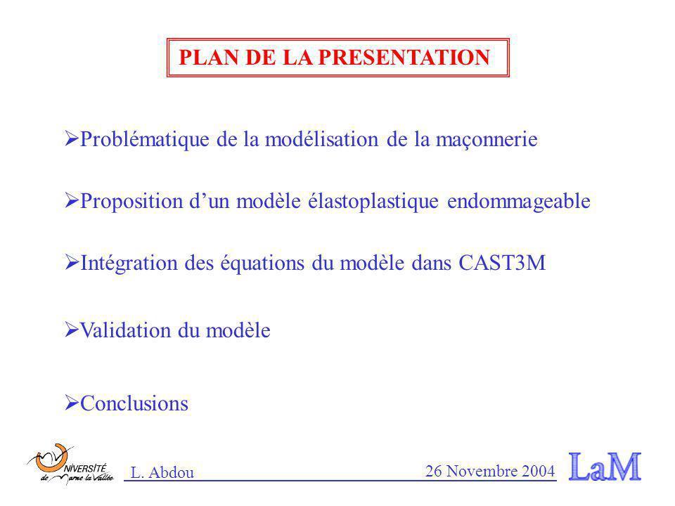 L. Abdou 26 Novembre 2004 Ahmed Mébarki Ramdane Ami Saada Fékri Meftah Encadreur et co-encadreurs : Travaux antérieurs : (W. Nechnech, 2000) : Une app