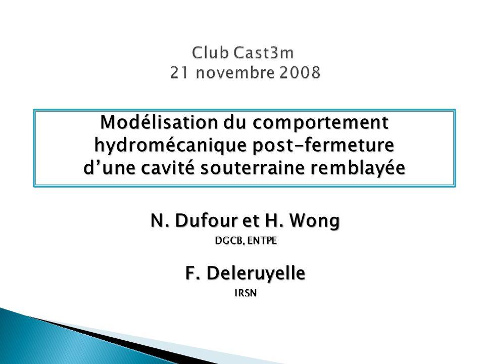 Modélisation du comportement hydromécanique post-fermeture dune cavité souterraine remblayée N. Dufour et H. Wong DGCB, ENTPE F. Deleruyelle IRSN