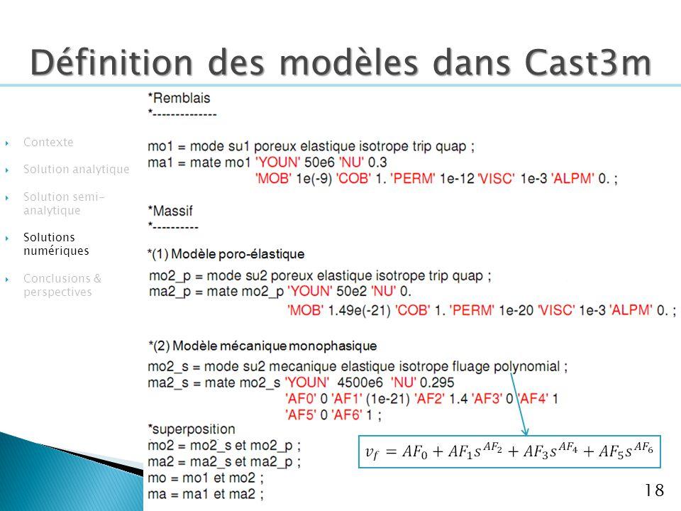 18 Contexte Solution analytique Solution semi- analytique Solutions numériques Conclusions & perspectives Définition des modèles dans Cast3m