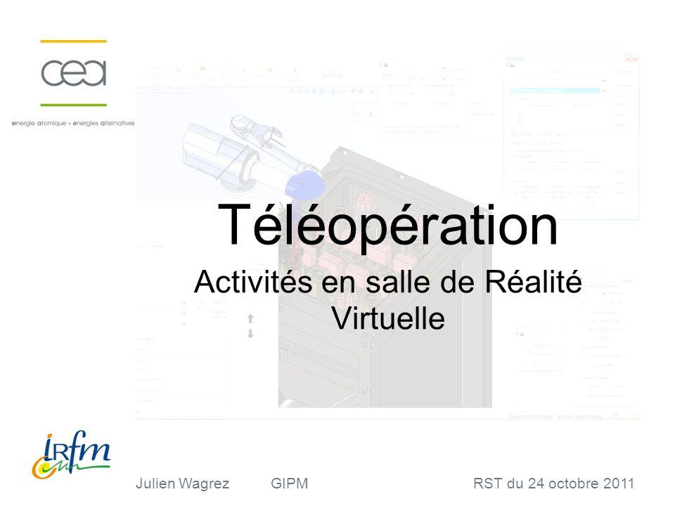 Julien WagrezGIPMRST du 24 octobre 2011 Téléopération Activités en salle de Réalité Virtuelle