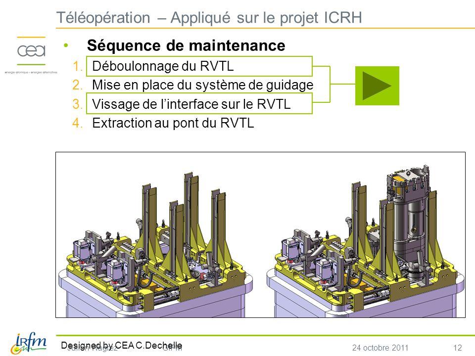 12 Julien WagrezGIPM24 octobre 2011 Séquence de maintenance 1.Déboulonnage du RVTL 2.Mise en place du système de guidage 3.Vissage de linterface sur le RVTL 4.Extraction au pont du RVTL Téléopération – Appliqué sur le projet ICRH Designed by CEA C.Dechelle