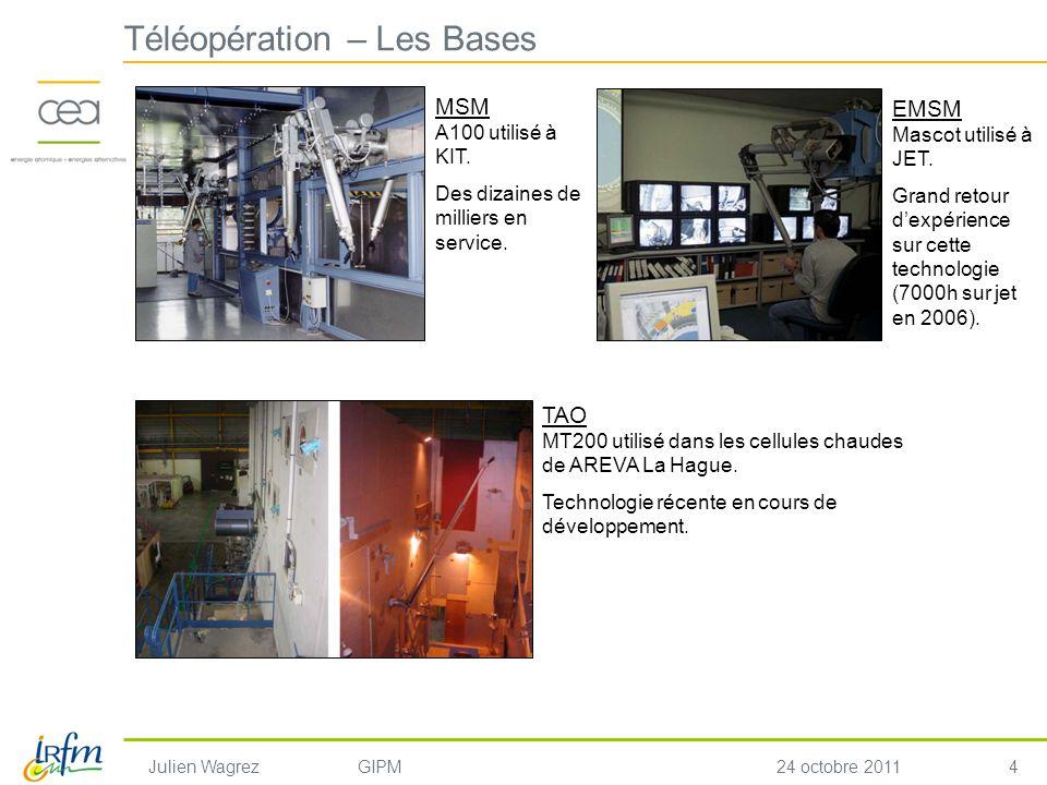 4 Julien WagrezGIPM24 octobre 2011 Téléopération – Les Bases EMSM Mascot utilisé à JET. Grand retour dexpérience sur cette technologie (7000h sur jet