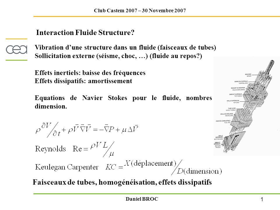 1 Club Castem 2007 – 30 Novembre 2007 Daniel BROC Vibration dune structure dans un fluide (faisceaux de tubes) Sollicitation externe (séisme, choc, …)