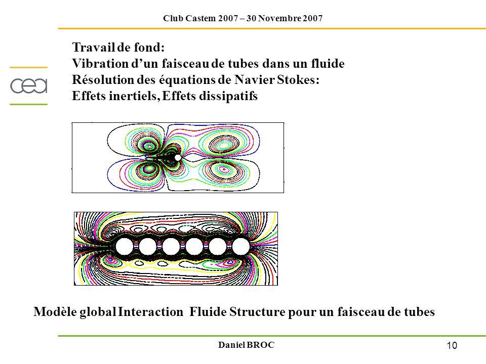 10 Club Castem 2007 – 30 Novembre 2007 Daniel BROC Travail de fond: Vibration dun faisceau de tubes dans un fluide Résolution des équations de Navier
