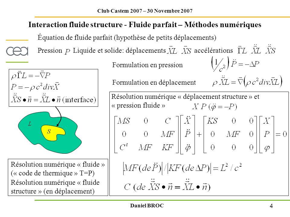 4 Club Castem 2007 – 30 Novembre 2007 Daniel BROC Interaction fluide structure - Fluide parfait – Méthodes numériques Pression Liquide et solide: dépl