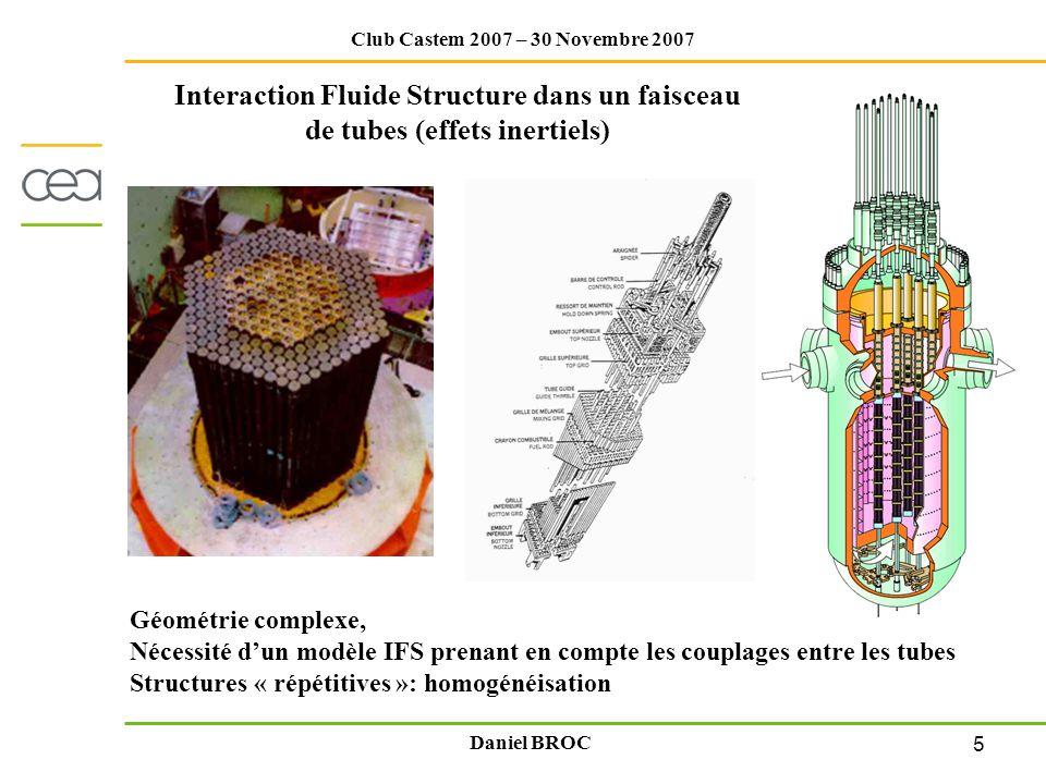 5 Club Castem 2007 – 30 Novembre 2007 Daniel BROC Interaction Fluide Structure dans un faisceau de tubes (effets inertiels) Géométrie complexe, Nécess