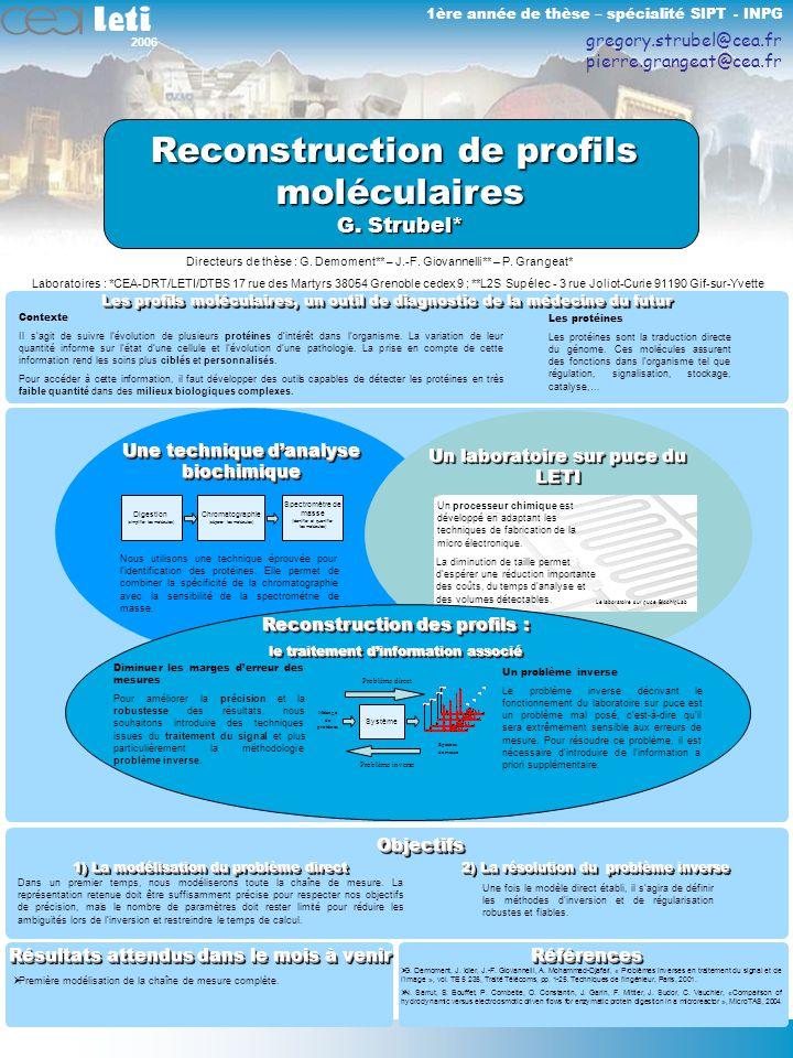2006 1 Les profils moléculaires, un outil de diagnostic de la médecine du futur Contexte Il sagit de suivre lévolution de plusieurs protéines dintérêt dans lorganisme.