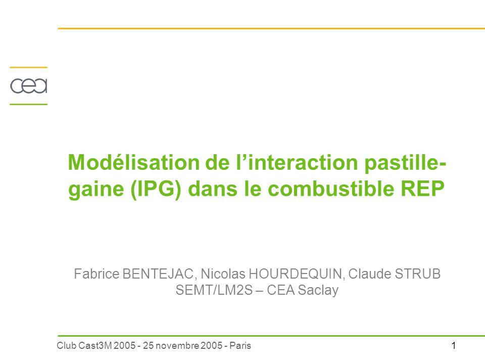 1Club Cast3M 2005 - 25 novembre 2005 - Paris Fabrice BENTEJAC, Nicolas HOURDEQUIN, Claude STRUB SEMT/LM2S – CEA Saclay Modélisation de linteraction pa